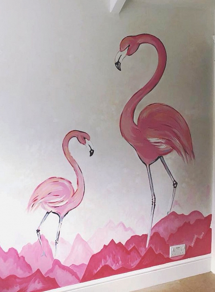 Flamingo mural in children's room
